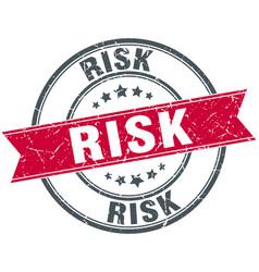 Risk red round grunge vintage ribbon stamp vector