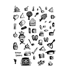 Russian sauna set of icons sketch for your design vector