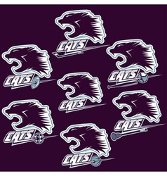 set of wild cats sports vintage labels vector image