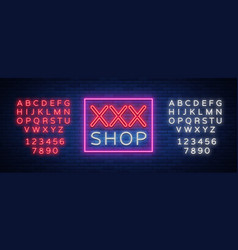 Sex shop logo night sign in neon style neon sign vector