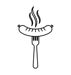 Silhouette fork with wavy sausage and aroma vector