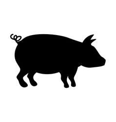 Silhouette monochrome color with pig vector