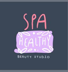 spa healthy beauty studio logo emblem for vector image vector image
