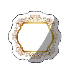 sticker golden curved rectangle heraldic baroque vector image