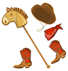 Toy horse and cowboy child clothes vector