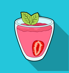 Transparent mug with strawberry juice and mint vector
