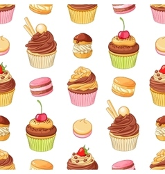 Various bright colorful chocolate desserts vector image