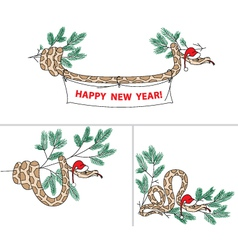 Snake with christmas hat and spruce vector image