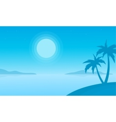 Silhouette of beach with palm scenery vector