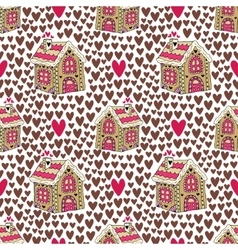 New year background with gingerbread house and vector