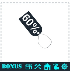 60 percent discount icon flat vector