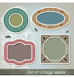 Set of vintage label and frame vector