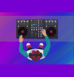 Dj playing vinyl on the neon color light vector