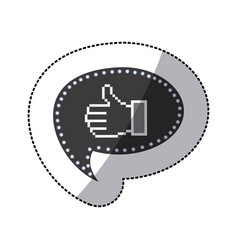 Black silhouette sticker of pixel thumb up inside vector