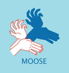 Shadow theater hands gesture like moose vector