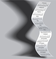 2014 Tall Wavy Calendar Grayscale vector image