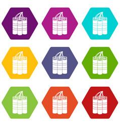 dynamite sticks icon set color hexahedron vector image