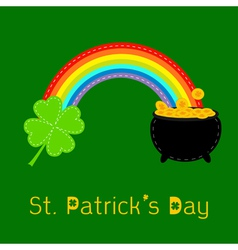 Clover leaf pot gold and rainbow st patricks day vector