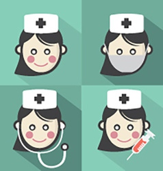 Flat design nurse icon with long shadow effect vector