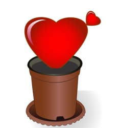 Heart in flowerpot vector