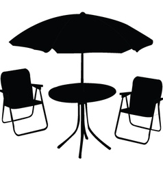 beach chair table and umbrella - vector image
