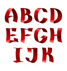 Set of isolated red color shiny ribbon font a-k vector