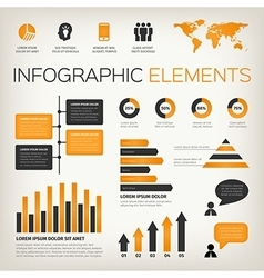 orange set of infographic elements vector image