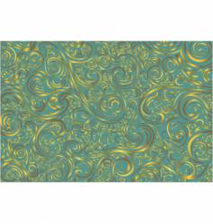 Teal and gold scroll work vector
