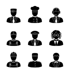 Monochrome people faces of different professions - vector