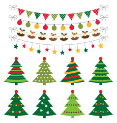 Christmas trees and decoration set vector image