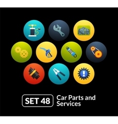 Flat icons set 48 - car parts and services vector
