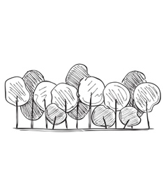 Trees hand drawn vector