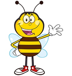 Waving bumble bee cartoon vector