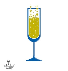 Classic champagne goblet with bubbles alcohol vector
