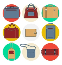 Baggage Icons Luggage Icons Set Bags and Suitcases vector image