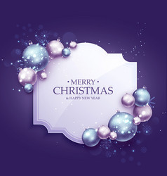 beautiful purple christmas greeting background vector image vector image