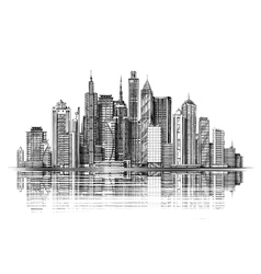 Big city architecture skyscrapers vintage sketch vector