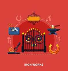 blacksmith iron works background vector image