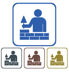 brick layer tiler mason worker with trowe vector image vector image