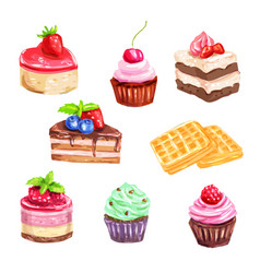 cake and pastry set of watercolor dessert vector image