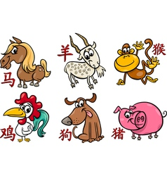 Chinese zodiac horoscope signs vector