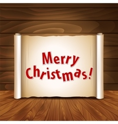 Christmas postcard on a wooden background vector image vector image