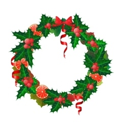 Christmas wreath made from oranges and holly vector