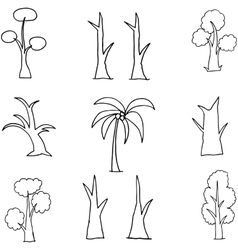 Collection of tree set hand draw vector