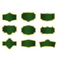 Dark green vine labels with gold frames vector image vector image