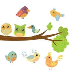 Different cute bird chicks sitting and flying vector