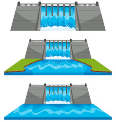 Different design of dam by river vector