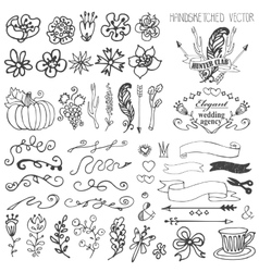 Doodle ribbonsswirlsfloral decor element for vector