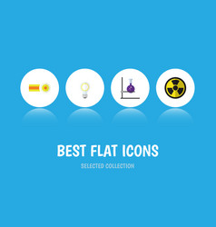 flat icon knowledge set of flask chemical vector image