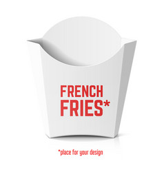 french fries white paper box template with place vector image vector image